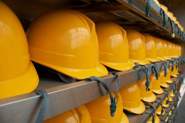 Bright Yellow Hardhats - closeup